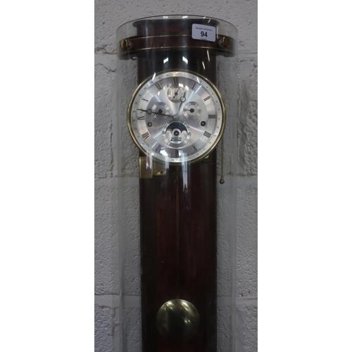 94 - Contemporary BilliB of Knightsbridge wall clock, burr walnut back plate with curved mineral glass en...