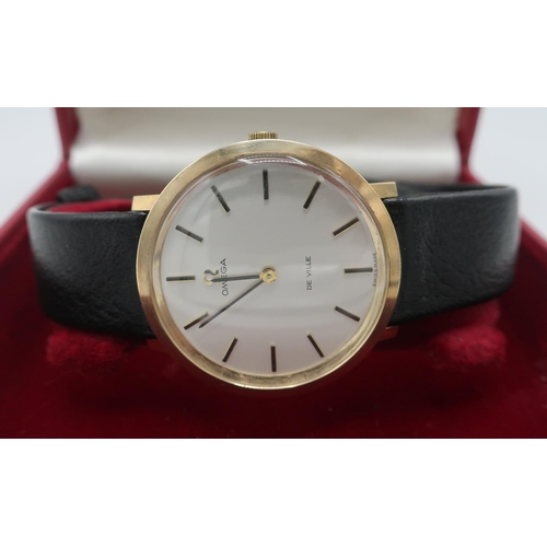1116 - 1970's Gents Omega De Ville 9ct gold manual wrist watch, circular dial with baton numerals, movement...