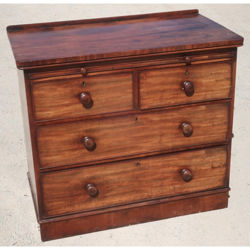 1322 - Victorian mahogany dressing chest with raised back and brushing slide above two short and two long d...