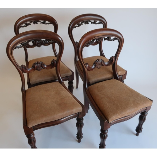 1325 - Set of four Victorian balloon back mahogany dining chairs, pierced and scroll carved splats and drop...