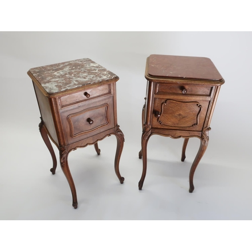 1313 - Early 20th C French walnut bedside cabinet, with inset rouge marble top and single drawer above a mo...