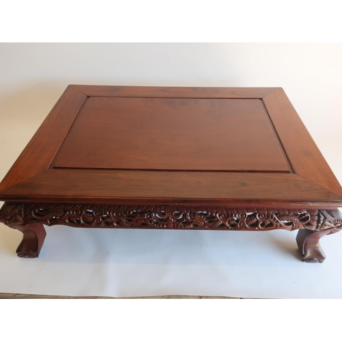 1316 - Large 20th C Chinese padouk coffee table, rectangular molded top with dragon and pierced frieze on f...