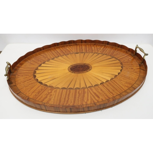 1303 - Edwardian Sheraton Revival satinwood oval galleried tray, with fan medallion centre and two brass ha...