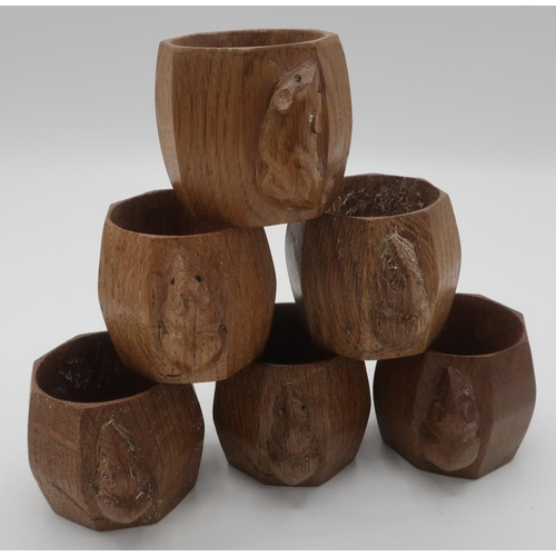 1018 - Robert Mouseman Thompson - set of six adzed oak napkin rings, carved with signature mouse, H5cm (6)