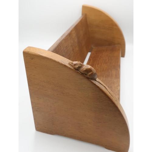 1022 - Robert Mouseman Thompson - an oak book trough carved, with a signature mouse W45cm D20cm H20cm