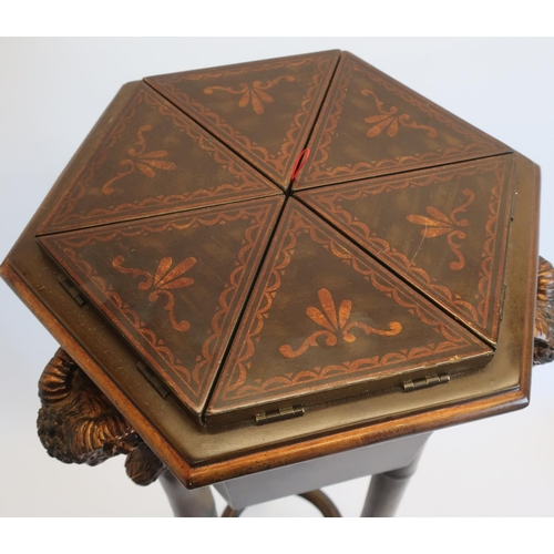 1332 - Regency style hexagonal jardinière, six compartments with lifting tops and metal liners, on three fa...