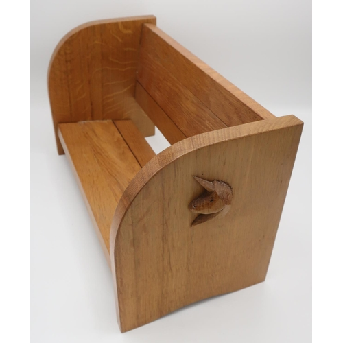 1040 - Coxwold Cabinet Makers  - an oak extending book trough, carved with signature unicorn,  W43cm D16cm ...