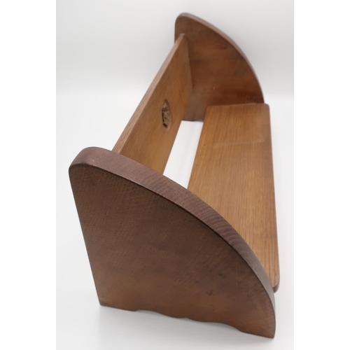 1045 - Yorkshire Oak - an oak book trough, the back carved with a Yorkshire Rose W43cm D19cm H 20cm
