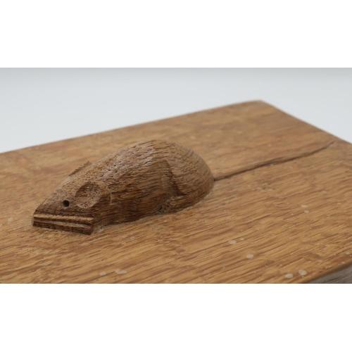 1008 - Robert Mouseman Thompson - a rectangular adzed oak trinket box, the cover with mouse handle W18cm D1...