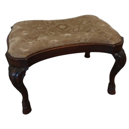 1307 - Geo.1 style walnut stool, shaped rectangular top with drop in seat on scroll carved cabriole legs wi...