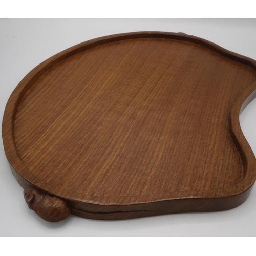 1021 - Robert Mouseman Thompson - kidney shaped adzed oak tea tray with raised border, carved with two sign...