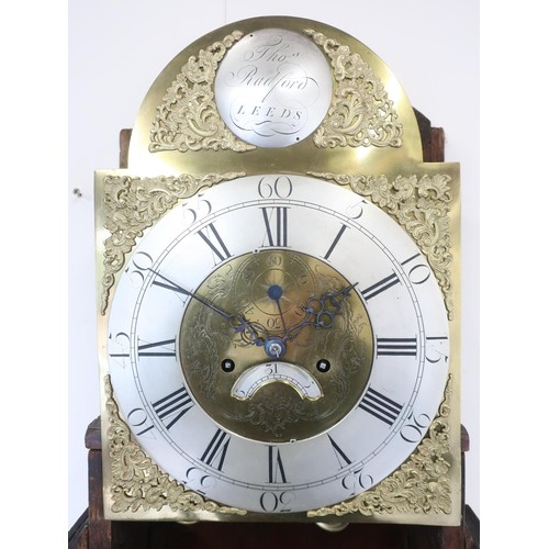 1264 - Geo. III oak long case clock, 44cm arched brass dial with silvered Roman chapter, subsidiary seconds...
