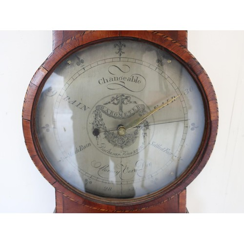 1263 - Late 18th century satinwood crossbanded mahogany mercury barometer and thermometer in shaped taperin...