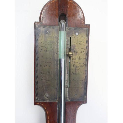 1262 - 19th century chequer banded mahogany arched top stick barometer with brass register and later fan in...