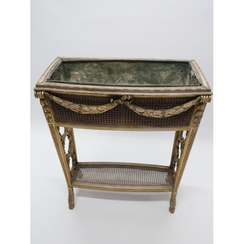 1346 - Regency style giltwood rectangular two-tier jardiniere with canework panels and laurel drapery decor...