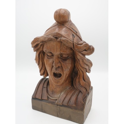 1343 - 20th Century Dutch carved oak Chemists shop Gaper figure, with flowing hair and open mouth, stamped ...
