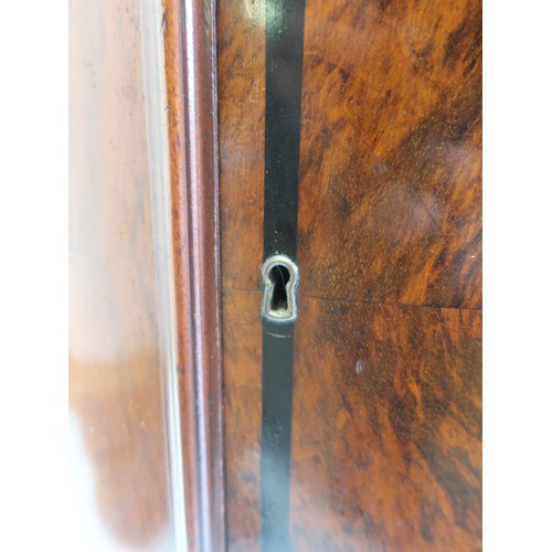 1347 - Unusual Victorian walnut D shaped tall pedestal cupboard, figured veneer door with ebony banding enc...
