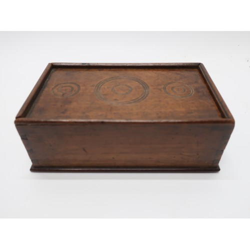 1144 - 19th Century mahogany rectangular four division spice box with sliding lid with draught turned detai...
