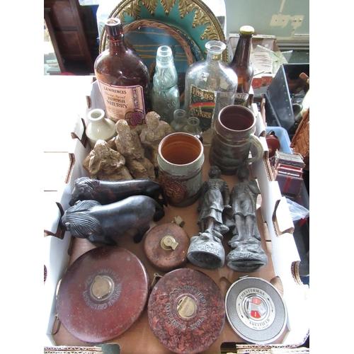 101 - Pair of cast Spelter figures, two art pottery tankards, art pottery sculpture of three elderly gentl...