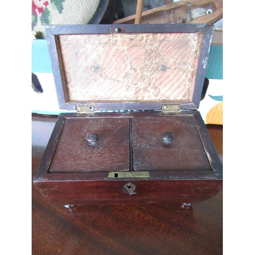 103 - Victorian rosewood two division sarcophagus tea caddy, shop counter cigar display, Victorian footsto...