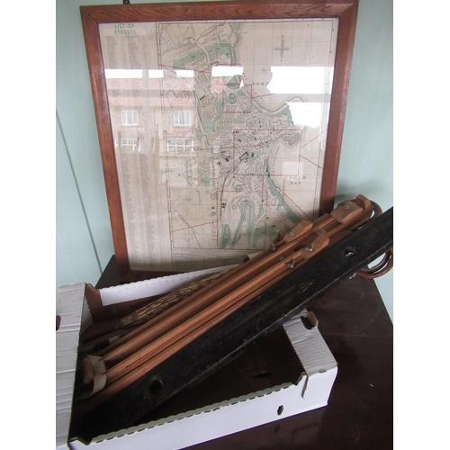 106 - Large Wilson Lovatt & Sons Ltd brass bound spirit level, two vintage shooting sticks, Windsor & Newt...