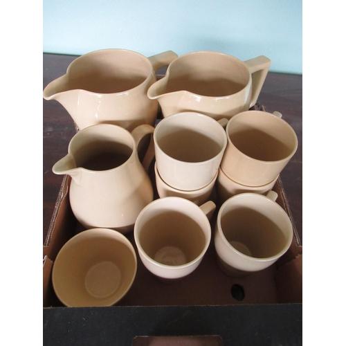 107 - Three Wedgwood Bourn-Vita jugs and seven mugs (10)...