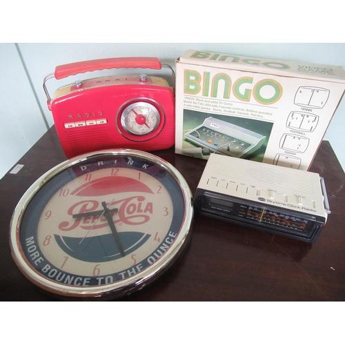 108 - Akai Retro style radio, Pepsi Cola wall clock, Ever Ready skytime radio clock and a retro bingo blac...