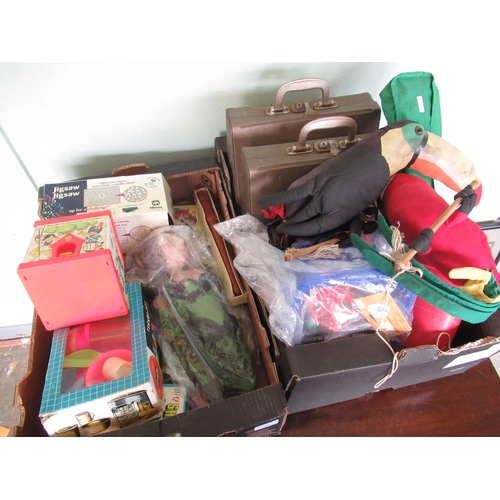 114 - Two Petite childs typewriter, a hanging soft toy Tucan, Fisher Price jack in the box, other children...