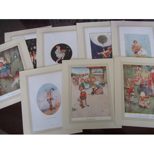 116 - Mounted prints by Mable Lucy Attwell and Margaret Tempest, medetron electronic stethoscope, table la...