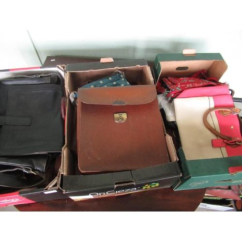 124 - Vintage leather attaché cases, satchels, ladies shoulder bags etc (3 boxes)