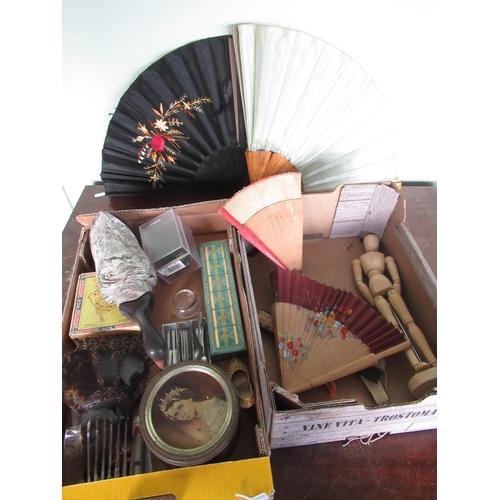 131 - Boxwood artist mannequin with adjustable limbs H33cm, decorative fans, celluloid hair fan, silver pl...