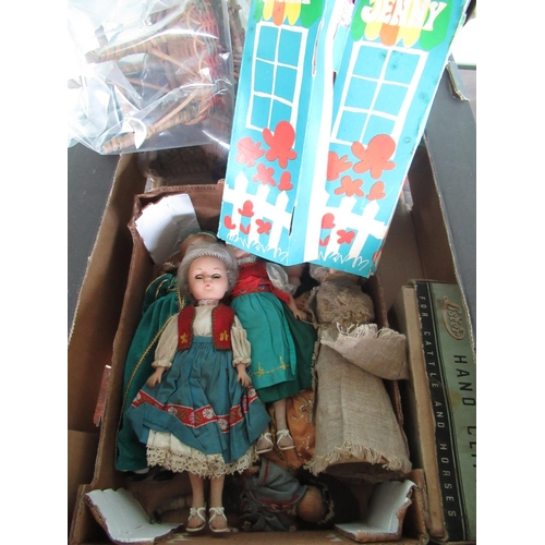 138 - Dolls house wicker conservatory suit, small selection of dolls circa 1960s