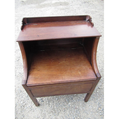 391 - Geo.III mahogany commode with hinged top and  molded front on square supports W56cm D46cm H74cm