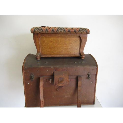 398 - Leather bound canvas dome topped cabin trunk, with brass studded decoration and leather straps and c...