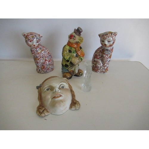 413 - Pair of 20th C porcelain cats with Imari decoration, continental figure of a clown and a Lalique sty...