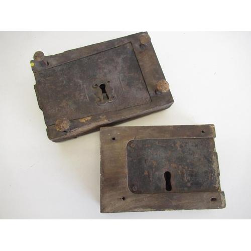 415 - 18th C door lock and a 19th C door lock (2)