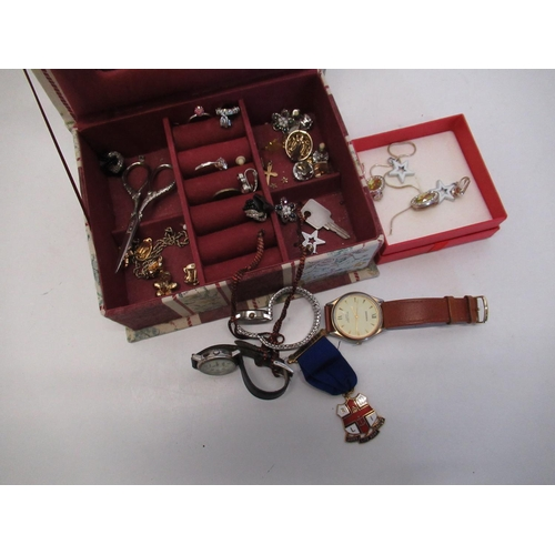 425 - Jewellery box containing costume jewelry including RNLI ladies life boat gild committee members meda...