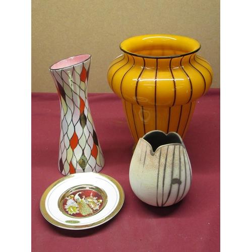 430 - 1960s Maling lusterware trumpet design vase impressed number 146, 1960s art glass vase with vertical...
