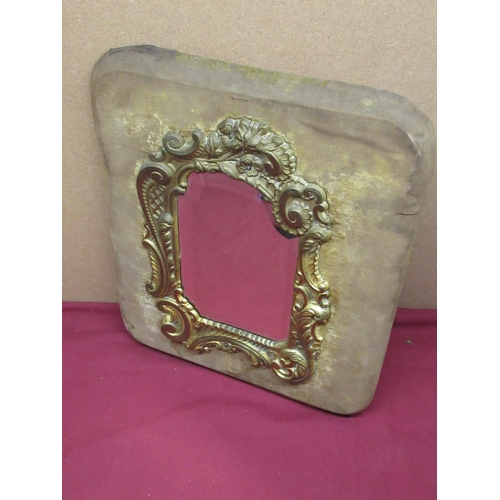 434 - 19th C continental mirror, pine frame over laid with fabric (traces) central Rococo style embossed b...