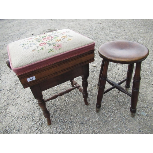 468 - Victorian rectangular piano stool, with adjustable needlework top on turned supports with similar st...