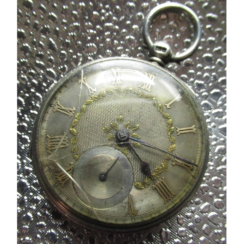 2 - Victorian silver open faced key wound pocket watch, silvered dial applied gold numerals and leafs, m...