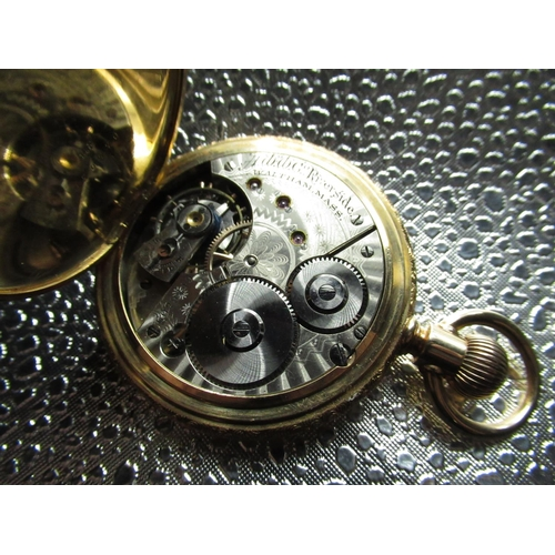 4 - Late 19th C American Waltham Watch Co, Riverside 14K full gold hunter keyless pocket watch, hinged c...