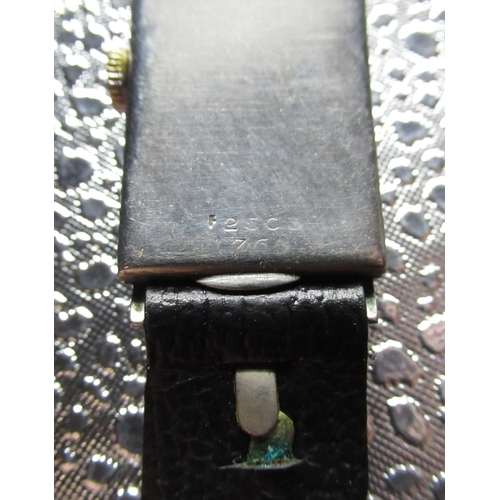 5 - Rolex Prince hand wound wristwatch, chrome plated rectangular stepped case on black leather strap, e...