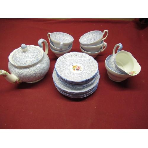 437 - Foley China Tea service comprising teapot, milk jug, condiments dish, teacups, saucers, side plates ...