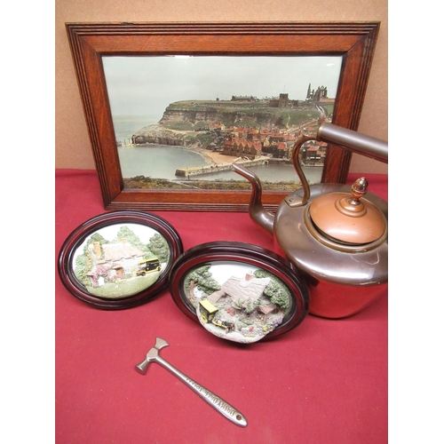 438 - Copper kettle, frame, pair of 3D circular frames and a small hammer (5)