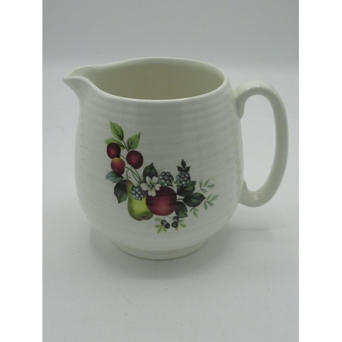 439 - Earthenware jug, coloured glass fish, miniature toy jugs, a Beswick wren etc