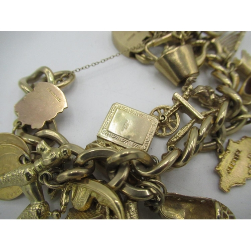 10 - 9ct gold hallmarked charm bracelet, hung with eighteen charms, including Edinburgh Castle, Scrabo To...
