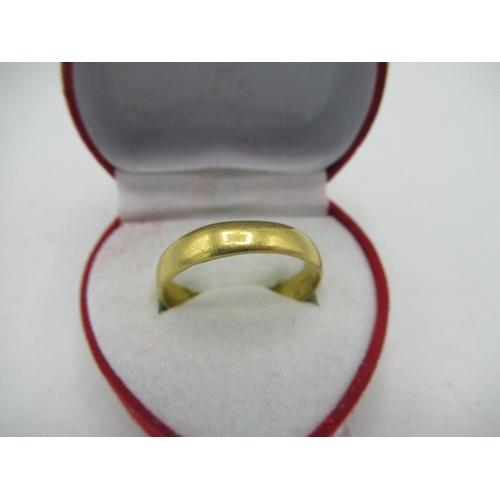 13 - 22ct gold hallmarked plain wedding band, 3.8g...
