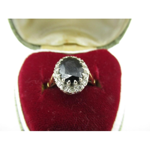 30 - 18ct gold hallmarked sapphire and diamond cluster ring...