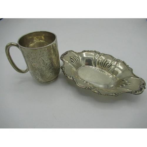 42 - Victorian silver hallmarked waved edged dish, W16.5cm London 1894 and an Edw.VII christening mug, en...
